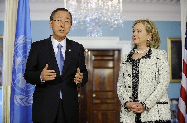 UN Secretary-General Ban Ki-moon and US Secretary of State Hillary Clinton Arrive Wednesday