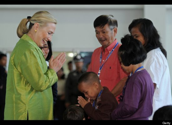 U.S. Secretary of State Hillary Rodham Clinton Visits Flood Evacuees