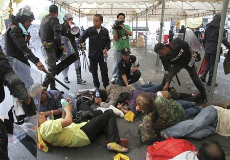 Thai Police Clash with Royalist Protesters