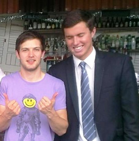 Sebastian Eric Faulkner (far right), who has died in Thailand, pictured with colleague last month.