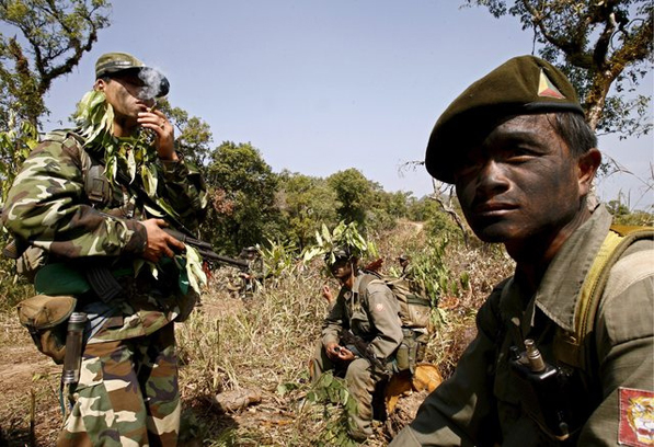 Troops from the SSA on patrol in Shan state