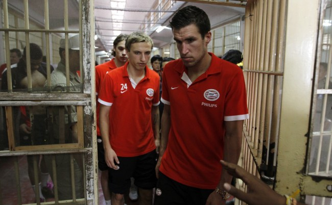 PSV Eindhoven Tour Thai Jail and Play Friendly Match Against Inmates