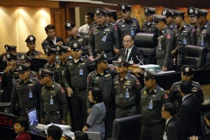 groups of Democrat and Pheu Thai MPs bitch-slapped each other during another parliamentary session