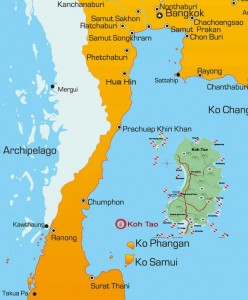 Koh Tao is the smallest one, of the three major islands, in the southern Gulf of Thailand