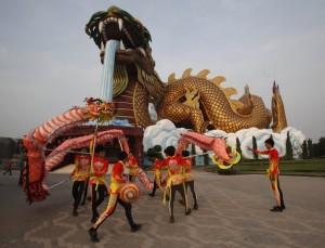 Traditional Chinese Dragon dancers perform ahead of the Chinese Lunar New Year celebrations