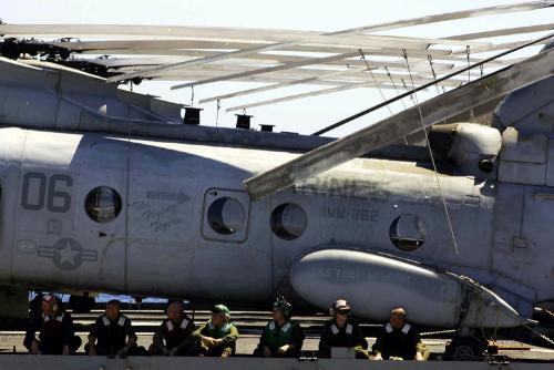 The CH-46E Sea Knight helicopter, with the Marine Medium Helicopter Squadron 262, 31st Marine Expeditionary Unit, made the hard landing around noon