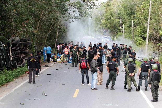 At least five soldiers were killed in the attack on a military truck in Yala province