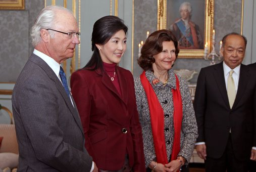 Thailand's Prime Minister Yingluck Shinawatra also visited the Royal Swedish Family while she was in Sweden.