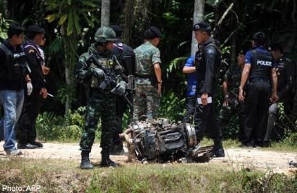 militants have detonated a roadside bomb that killed three police officers
