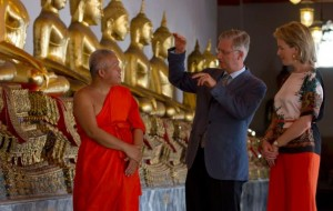 The prince and his wife, Princess Mathilde Visit Temple