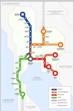 Map shows the four high-speed rail projects currently in the planning stage, with the solid red line to Pattaya to be built within five years