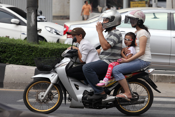 Out of 1.5 million motorcyclists in the country, only 43 per cent wear crash helmets with 28 per cent of teenagers wearing helmets and 7 per cent of children riding as pillion passengers using a safety head gear.