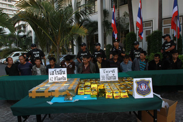 12 hill tribesmen have been arrested by narcotics suppression police for trafficking 600 million baht worth of drugs