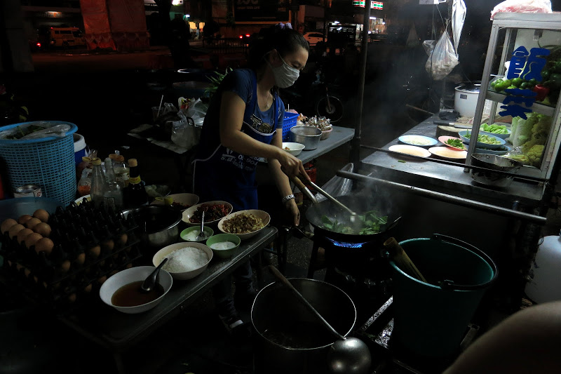 Street Vendor Cooking with Oil in Bangkok