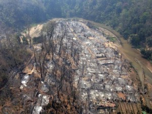 an aerial view of the Ban Mae Surin refugee camp in Mae Hong Son province, northern Thailand, which was burnt down in a fire
