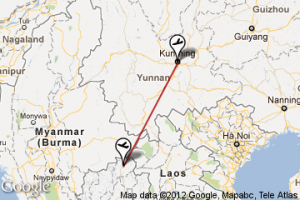 The flight is less than two hours from Kunming to Chiang Rai