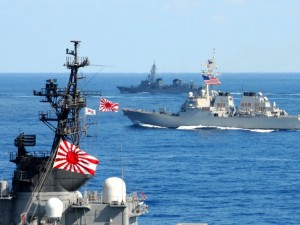 U.S. Navy and Japan Maritime Self-Defense Force ships underway in Japan waters during Keen Sword exercise Read more: http://nation.time.com/2012/11/08/big-exercise-low-profile-in-japan-china-dispute/#ixzz2Mo3dezeq