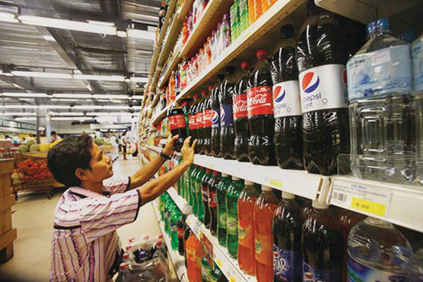 Coca-Cola and Pepsi in Myanmar Shopping Store