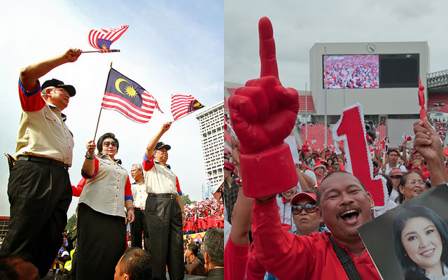 On the right side, a Thai man is holding the poster of the first female Prime Minister of Thailand, Khun Yingluck Shinawatra. On the left side, Malaysian Prime Minister, Najib Razak waves flag in the national day.