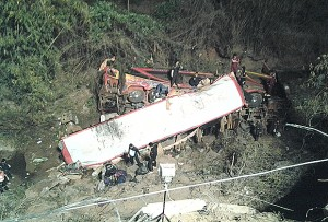 Rescue workers search for casualties around the wreckage of a bus accident in Phitsanulok province.
