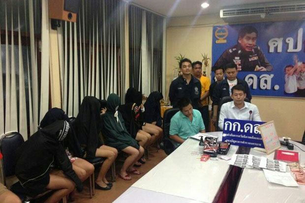Bangkok police raid a spa on Wednesday night and detain nine prostitutes, including three under 18 years of age.