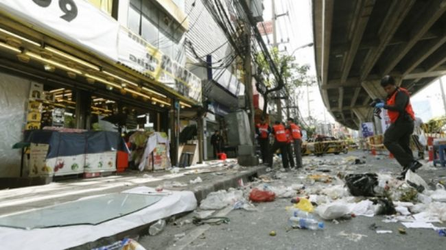 Thai security forces are seen at the site of a bomb attack in Bangkok