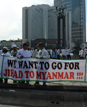 """""""Hundreds of members of radical Islamic groups on Friday called for """"jihad in Myanmar"""" during rallies in front of the Myanmar embassy in Menteng, Jakarta, to protest growing violence against Rohingya Muslims."""