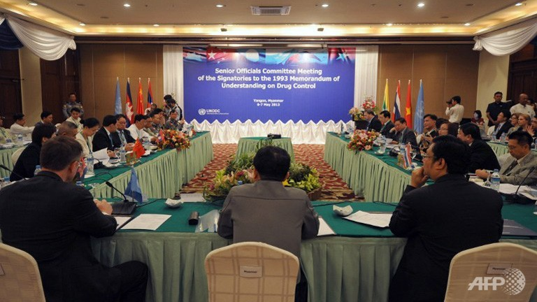 Officials from China, Laos, Thailand, Cambodia, Vietnam and Myanmar attend a Senior Officials Committee Meeting of the Signatories to the 1993 Memorandum of Understanding on Drug Control meeting in Yangon