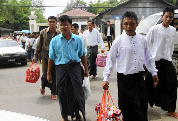 Released political prisoners leave Insein prison in Yangon, Myanmar