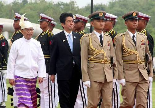 Prime Minister Shinzo Abe's visit to Myanmar, the first by a Japanese leader in 36 years