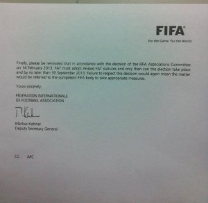 Fifa's letter to the FAT