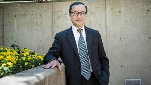 Cambodia's opposition leader Sam Rainsy poses for a portrait during a visit to Washington, DC on May 9, 2013.