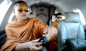 Monks flying in a private jet Thailand
