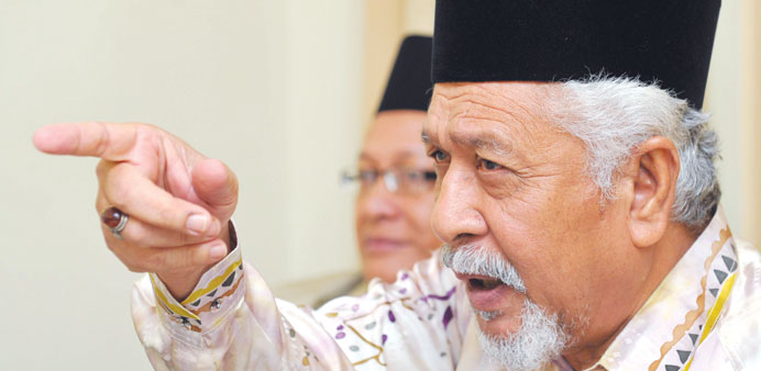 Chief of Malaysian-based National Revolution Front, Hassan Taib speaks during a press conference in Kuala Lumpur yesterday.