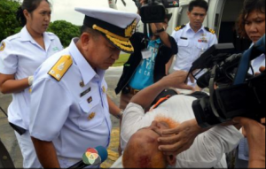Rear Admiral Prayuth Phutien with survivor