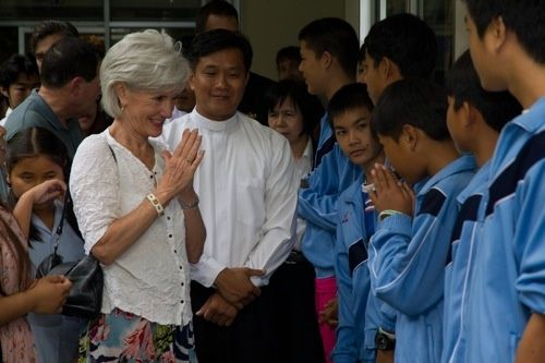 US Secretary of Health and Human Services Kathleen Sebelius visits the Human Development Foundation-Mercy Centre