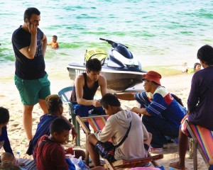 Foreign tourists who rent jet skis on the Thailand island of Phuket are often forced to phone friends to bring money to pay for damage to jet skis they didn't cause.