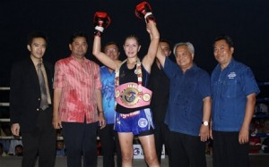 Melissa Ray, pictured at Sanam Luang Park in Bangkok when she won the S-1 belt in Muay Thai boxing