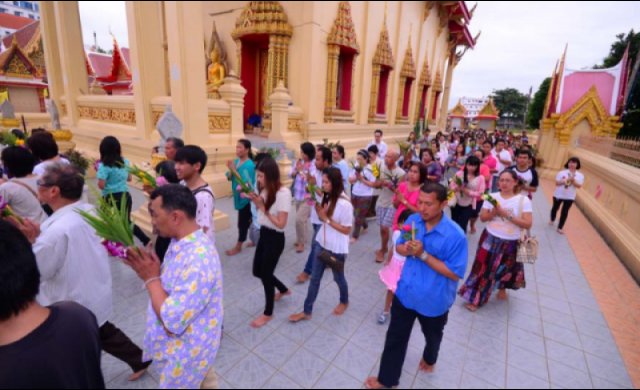 Thai Buddhists Nationwide Merrit Making on Asalha Puja Day