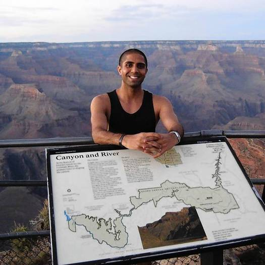 Rehan Motiwala, 29, a medical student from Pomona, is shown at the Grand Canyon in 2010
