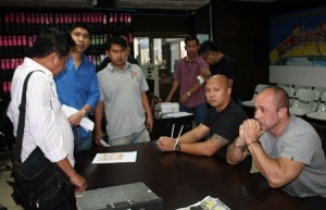 Russian Sergey Erokin (right), former Thai Air Force officer Wornwat Asawadechapongthorn and Peruvian Alexander Trujillo have been charged with conspiracy to commit assault, kidnapping, robbery and various drug and weapons charges.