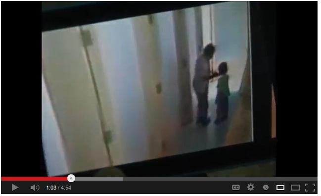In the footage, the third grader, aged about 10, acted alone in the rest room in mistreating the young child, but  three other students were on lookout