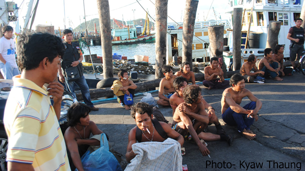 Burmese human trafficking victims after the raid on the Thai fishing boat on Friday. (Photo: Kyaw Thaung)