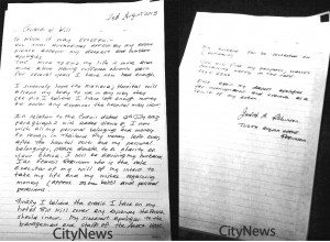 police found a suicide letter detailing Ms. Robinson's apology to the hotel along with her wishes to donate her body to a medical school