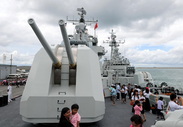 People visit the Harbin missile destroyer of Chinese Navy at Sattahip naval base in Chon Buri province of Thailand,