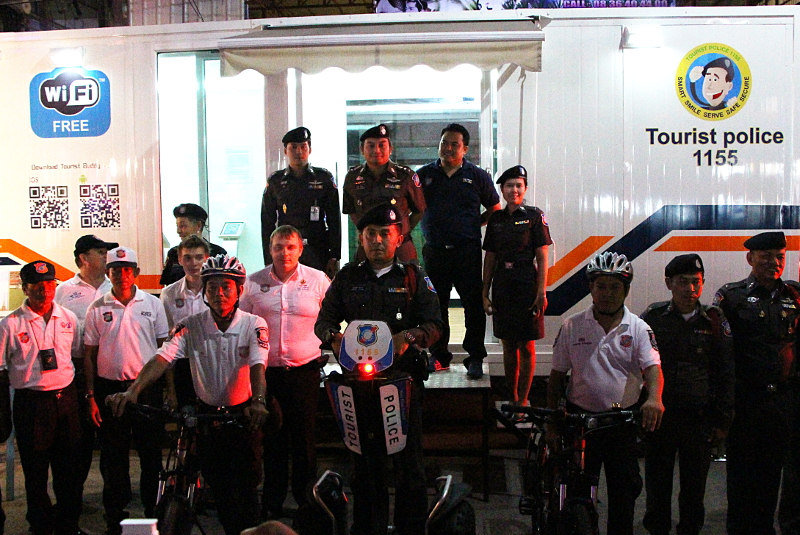 Tourist Police supremo Col Archayon Kraithong (upper row, second from left) with the concept container on wheels, along with officers on bicycles and a Segway - See more at: http://www.thephuketnews.com/tourist-police-unveil-mobile-unit-in-phuket-41925.php#sthash.M5TfCacK.dpuf