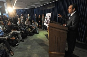 """U.S Attorney for the Southern District Preet Bharara announces the charges against former American soldiers and a former German soldier during a news conference on Friday, Sept. 27, 2013, in New York. Two former American soldiers — one nicknamed """"Rambo"""" — and a German ex-soldier were charged with plotting to kill a U.S. drug enforcement agent and an informant after a law enforcement sting interrupted their plans to use five ex-military snipers to protect illegal drug shipments, authorities said. (AP Photo/Louis Lanzano)"""