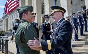 General Martin Dempsey (right), chairman of the US Joint Chiefs of Staff, greets Philippine military chief General Emmanuel Bautista at the Pentagon