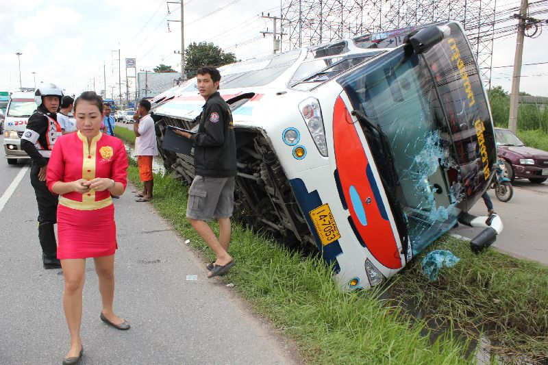 The driver said he soon lost control of the coach and plunged it into the roadside ditch.