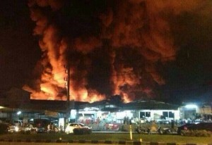 More than 50 fire trucks rushed to the site of the blaze, and at least 300 firefighters were involved.